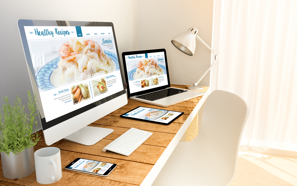 blog responsive concept healthy recipes on devices